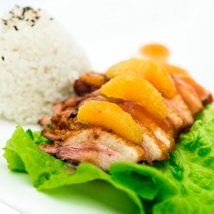 Assiette de canard laqué à l'orange