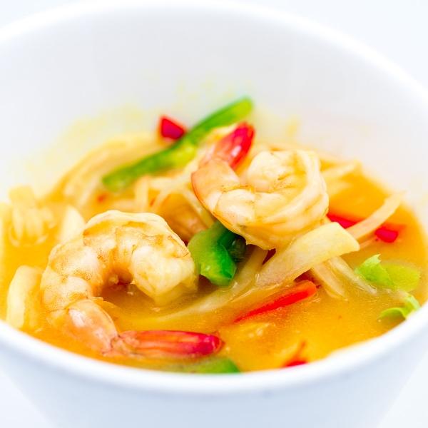 Curry de crevette Thaï adouci au lait de coco