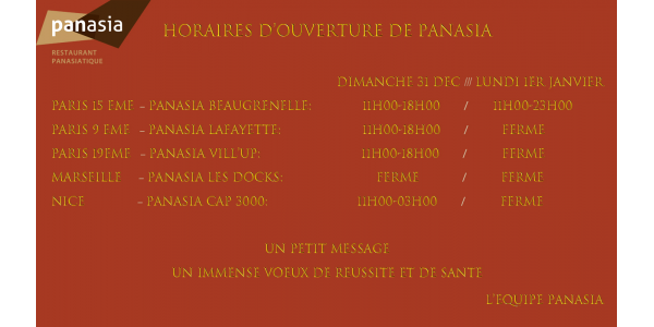 opening hours of Panasia